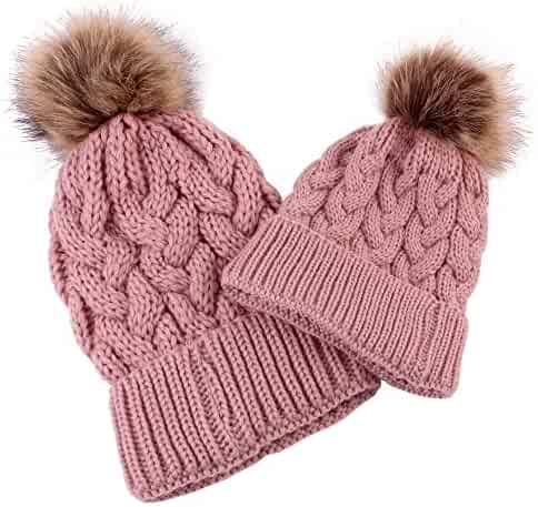 23d68877941 Goodtrade81 2 Pack Winter Warm Knit Baggy Slouchy Pom Pom Beanie Hat Mom    Baby