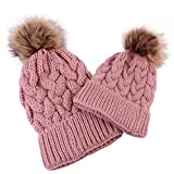 Goodtrade81 Family Matching Hat Winter Warm Cotton Knitting Beanie Cap for 0-5 Months Baby Pink