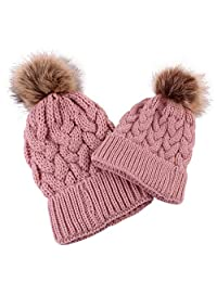 kaiCran 2PCS Parent-Child Hat Warmer, Mommy and Me Cable Knit Winter Warm Hat Beanie