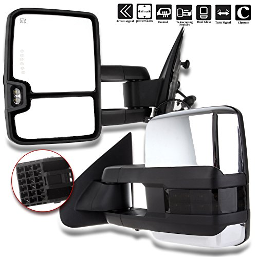 SCITOO fit Chevy GMC Towing Mirrors Chrome Rear View Mirrors fit 2014-2018 Chevy Silverado/GMC Sierra 1500 2015-2018 Chevy Silverado/GMC Sierra 2500 HD 3500HD with Power Heated Signal Backup Light - Gmc Truck New Chrome Mirrors