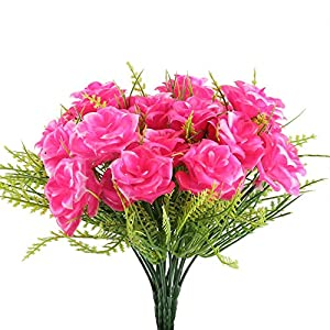 Nahuaa Fake Flowers Plants 4PCS Artificial Rose Floral Bouquet Faux Plastic Boston Fern Shrubs Bushes Table Centerpieces Arrangements Home Kitchen Office Indoor Outdoor Spring Decorations Pink 73