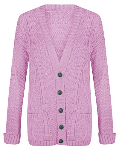 (WOMEN'S CHUNKY BOYFIEND KNITTED BUTTON CARDIGAN (XL=16/18, BABY PINK))