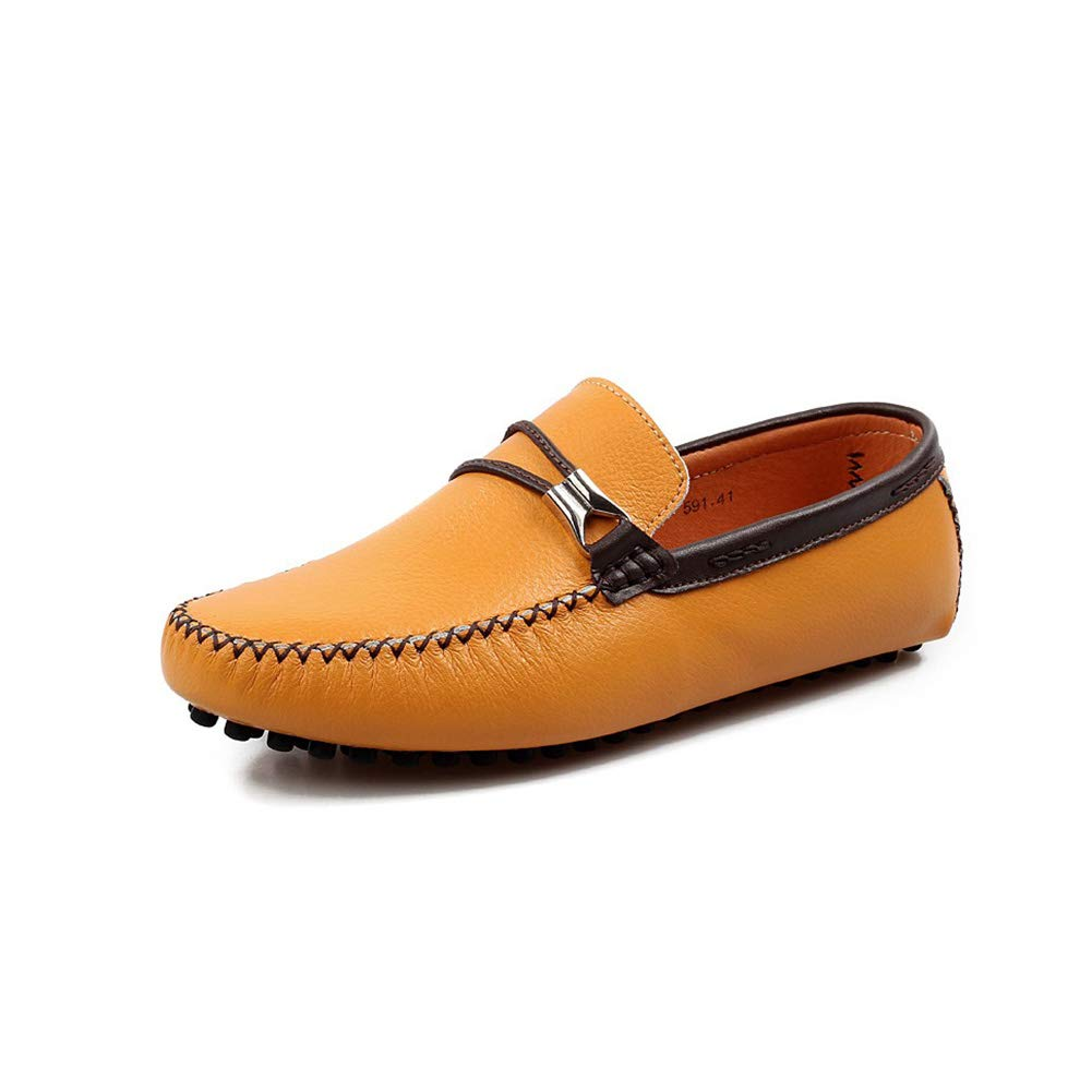 Yellow Men's Non-slip Business Driving shoes Breathable Leisure Sleeve Loafers Low help British style Boat shoes