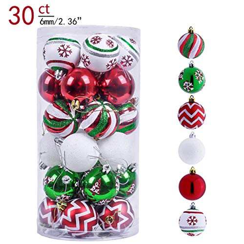 Cheap Christmas Ornaments (Valery Madelyn 30ct 60mm Classic Collection Splendor Red Green White Shatterproof Christmas Ball Ornaments Decoration,Themed with Tree Skirt(Not)