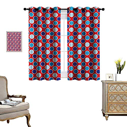 WinfreyDecor Polka Dots Thermal Insulating Blackout Curtain Bohemian Style Illustration of Polka Dots Rounds European Effects Artsy Work Patterned Drape for Glass Door W55 x L45 Red Dark Blue
