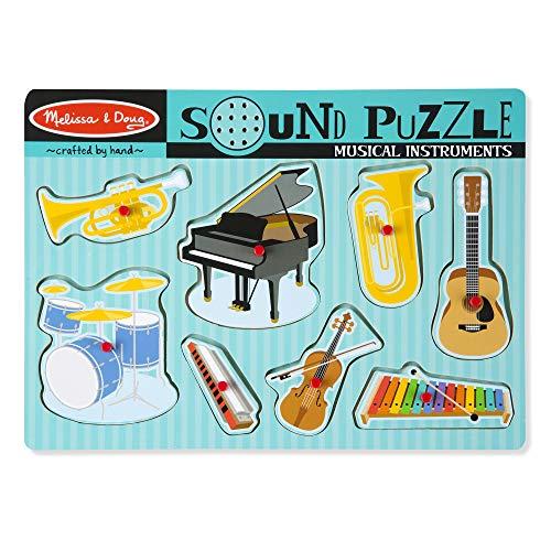 Melissa & Doug Musical Instruments Sound Puzzle - Wooden Peg Puzzle (8 pcs) (Puzzles With Sound)