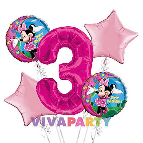 Minnie Mouse Balloon Bouquet 3rd Birthday 5 pcs - Party Supplies -