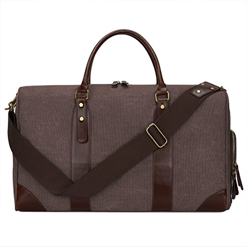 S-ZONE Canvas PU Leather Trim Tr...