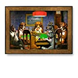 Canvas Prints Wall Art - Framed Art Prints - A Friend in Need (Dogs Playing Poker) by C.M. Coolidge - Famous Painting Wall Decor - 28'' x 40'' - Bronze and Black Frame