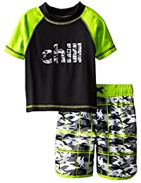 iXtreme Little Boys Chill Camo Short Sleeve 2-Piece Rashguard Swim Trunk Set, Grey, 4T