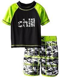 iXtreme Little Boys Chill Camo Short Sleeve 2-Piece Rashguard Swim Trunk Set, Grey, 5
