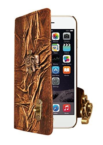 """A Little Present """", handgemacht, Vintage-Stil, Elefanten-Anhänger, Leder, zum Aufklappen, mit Schloss für iPhone 6 Plus, braun"""