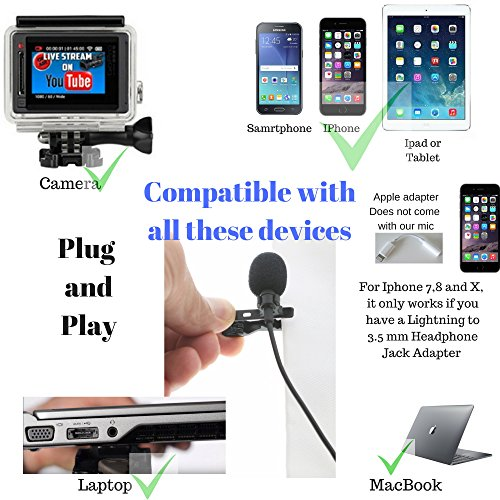 """Lavalier Lapel Podcast Iphone Microphone:BluQbt Professional High Audio Quality Clip On Microphone Lav Mic Great for Youtube Camera Vlogging. 118"""" cable and carry case, compatible with Apple by BluQbt (Image #4)"""