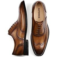 GIFENNSE Men's Handmade Leather Sole Modern Classic Lace Up Leather Lined Perforated Dress Oxfords Shoes