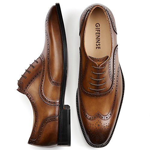 GIFENNSE Men's Handmade Leather Sole Modern Classic Lace Up Leather Lined Perforated Dress Oxfords Shoes (10US/Brown) by GIFENNSE