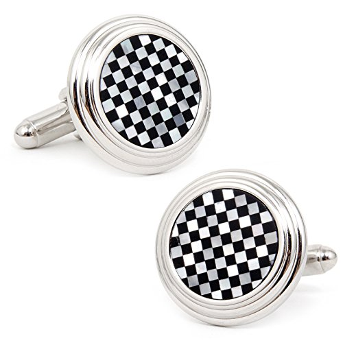 (Ox and Bull Mens Plated Onyx and MOP Checker Step Cufflinks)