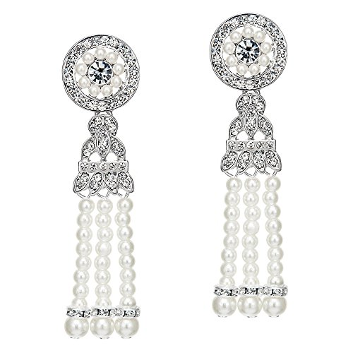 BABEYOND 1920s Flapper Art Deco Gatsby Earrings 20s Flapper Gatsby Accessories (Style 4-Silver) by BABEYOND (Image #1)