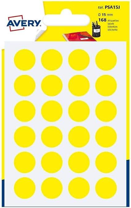 Avery España PSA15J - Pack de 168 gomets, color amarillo: Amazon.es: Oficina y papelería