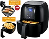 Ovente Electric Air Fryer with 6 Preset Functions, 3.2 Qt, 1400 Watts, LED Display, Adjustable Temperature Controls, Includes Fry Basket and Pan, Black (FAD61302B)