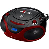 Shop Brand New Axess PB2703 Red Portable Boombox MP3 / CD Player Text Display AM / FM Stereo