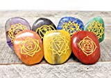 7 pcs Chakra Engraved Symbols Crystal Healing Set/Holistic Balancing Polished Massage Stones