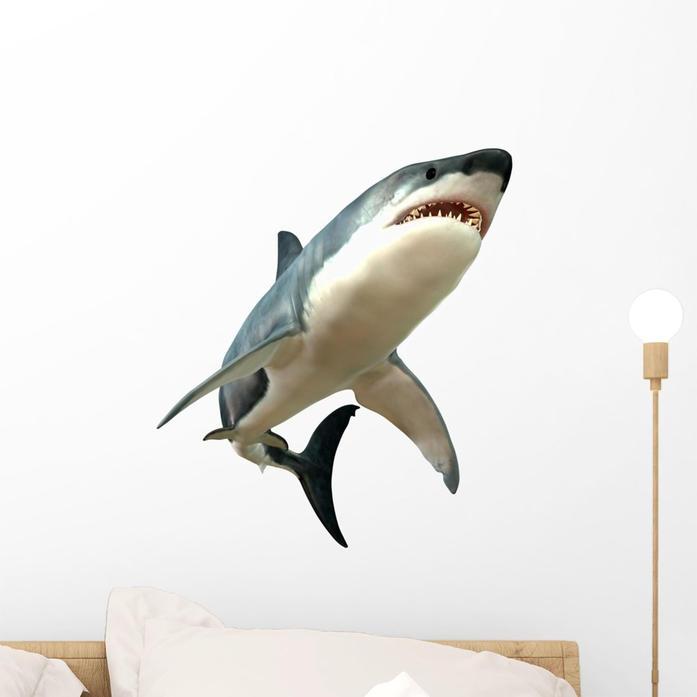 Wallmonkeys Great White Shark Wall Decal Peel and Stick Animal Graphics (18 in H x 18 in W) WM289167