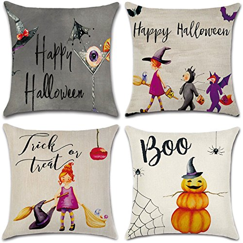 Halloween Throw Pillow (4Pcs Happy Halloween Cotton Linen Pillow Cover Square Burlap Decorative Throw Pillowslip Cushion Cover with Bat Pumpkin Little Witch Element)