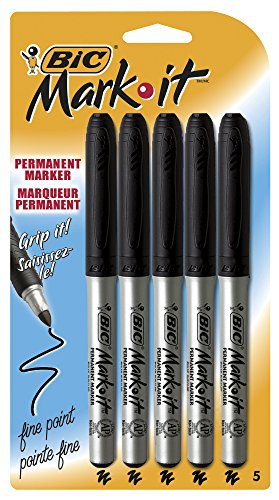 BIC Marking Permanent Marker, Fine Point, Black, 5-Count
