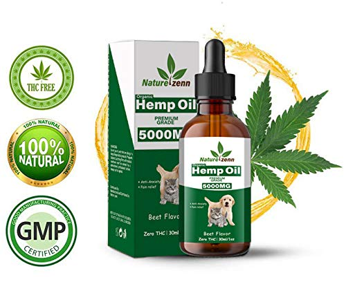 Hemp Oil Dogs Cats - 5000mg - Separation Anxiety, Joint Pain, Stress Relief, Arthritis, Seizures, Chronic Pains, Anti-Inflammatory - Omega 3, 6, 9-100% Organic - Calming Drops (Beef Flavor- 30 ML) by Natures-Zenn