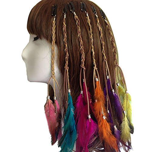 6PCS Women Lady Girls Handmade Boho Hippie Hair Extensions with Feather Clip Comb DIY Accessories Hairpin Headdress