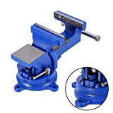 Bench Vise Clamp,4'' 100mm Mechanic Work Shop Table Top Clamp Press Locking Swivel Base Cast Iron Tool