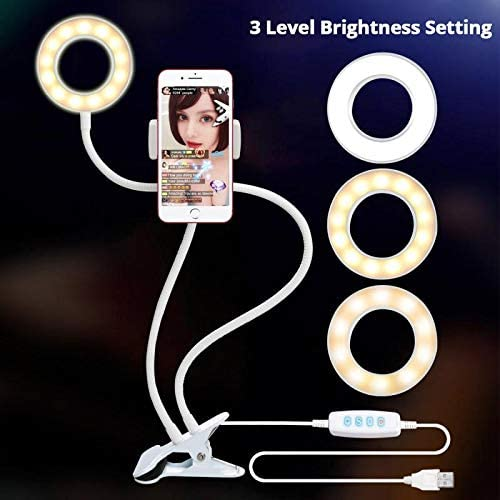 YAYONG Dimmable LED Selfie Ring Light USB Ring Lamp Photography Fill Light with Phone Holder Stand for Makeup Live Stream