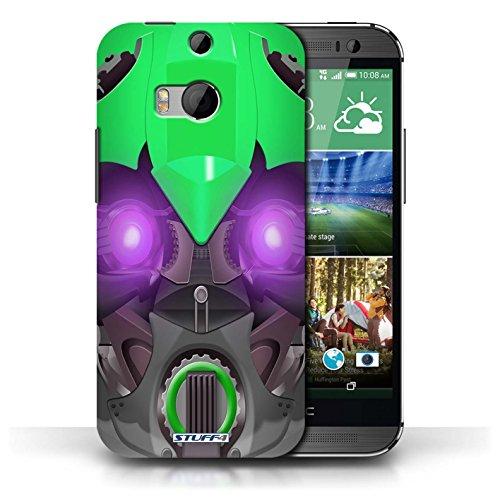 Etui / Coque pour HTC One/1 M8 / Bumble-Bot Vert conception / Collection de Robots