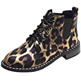 Women Suede Ankle Boots,Mosunx Lady Casual Bow Lace Flat Leopard Shoes (6.5B(M) US, Brown)