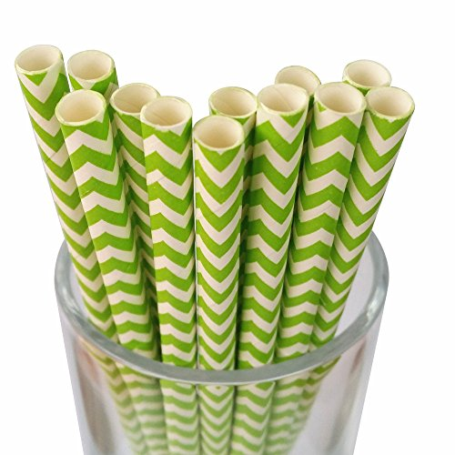 MY PAPER Decorative Paper Straws Gold Pink Blue Grey Red Black Yellow Teal Mint Chevron Pattern 7.75 Inch 25 PCS For Christmas Party (Green) (And Teal Red Christmas)