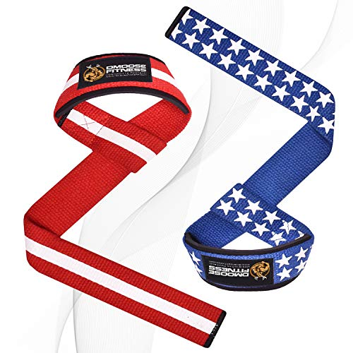 DMoose Fitness Lifting Straps for Weightlifting, Crossfit, or Powerlifting with Soft Neoprene Padded Wrist Support for Max Grip Strength, Deadlifts and Barbell Stability