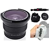 Opteka .35x HD Super AF Wide Angle Fisheye Lens with Macro and Microfiber Cloth for Canon EOS 80D, 70D, 60D, 60Da, 50D, 7D, 6D, 5D, 5Ds, T6s, T6i, T6, T5i, T5, T4i, T3i, T3, T2i Digital SLR Cameras