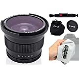 Opteka .35x HD Super AF Wide Angle Fisheye Lens with Macro and Microfiber Cloth for for Olympus OM-D E-M5, E-M1, E-M10, PEN PL7, P5, PL5, PM2, P1, P2, PL1, PL1s, PL2 Micro Four Thirds Digital Cameras