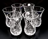 Set of 6 Crystal Turkish Tea Glasses Russian Cut Crystal For Sale