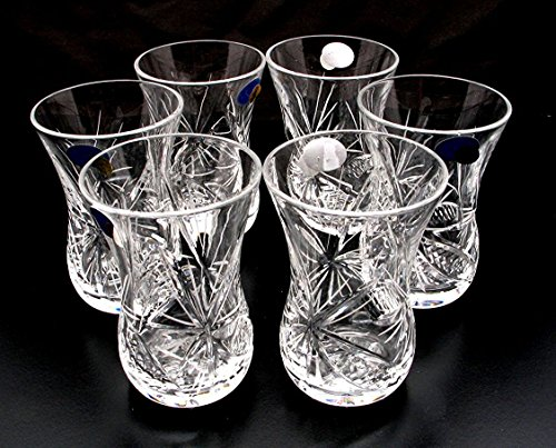 Set of 6 Crystal Turkish Tea Glasses Russian Cut Crystal