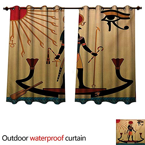 WilliamsDecor Egyptian Outdoor Curtain for Patio Ancient Figure Sun Old Egyptian Religion Grace Icons Tradition Illustration Print W63 x L72(160cm x 183cm) - Inner Grace Skin Care At