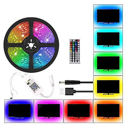 gdfh LED Strip Lights, 3528 SMD RGB Color Changing Flexible LED Tape Light Kit with 44 Key IR Remote Controller for Room, Bedroom Kitchen TV Decor Lighting 1m