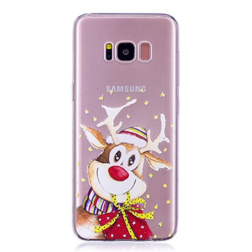Galaxy S8 Plus Case Xmas, Merry Christmas Tree Santa Claus Elk Snowflake Serie, BONROY Ultra Slim Transparent Soft TPU Silicone Back Rubber Bumper Clear Creative Cartoon Shockproof Cover Case Anti-Scratch Gel Protective Shell for Samsung Galaxy S8 Plus
