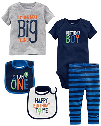 Simple Joys by Carter's Boys' 5-Piecemy 1st Birthday Set, Blue Birthday Boy, 12 Months (1st Birthday Bib)