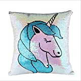 RoseMaterials Unicorn Pillow Case with Reversible Sequins, Decorative Sequin Throw Cushion Cover, Girls Birthday Gift for Couch, Sofa or Bedroom.