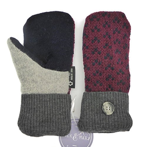 Jack & Mary Designs Handmade Womens Fleece-Lined Wool Mittens, Made from Recycled Sweaters in the USA (Gray/Black/Red, Small)