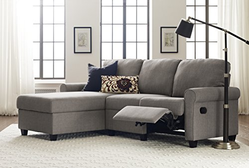 Serta Copenhagen Reclining Sectional with Left Storage Chaise - Moonlight Gray - Reclining Sectional Chaise