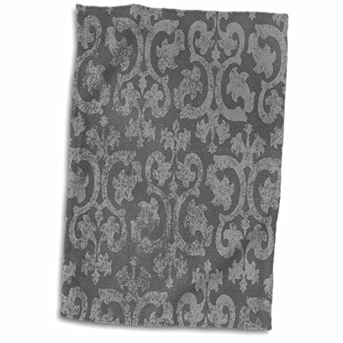 3D Rose Grunge Dark Gray Damask-Silver Grey Faded Antique Vi