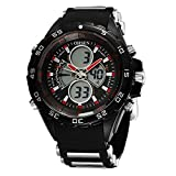 OHSEN Men's Sport Watch Cool Style Waterproof LED Digital Analog with Stopwatch Chronograph Alarm - Red