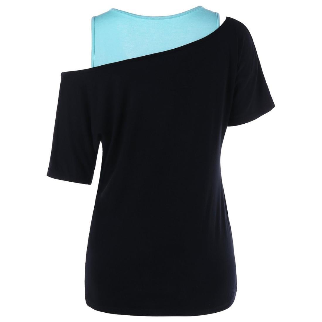 Zarupeng 2PCS Set Moda para Mujer Diente de León Impresa Camiseta de Hombro Frío + Solid Tank Tops: Amazon.es: Ropa y accesorios